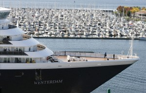 Holland America's Westerdam has been a regular at Seattle's Smith Cove cruise terminal. The ship kicks off this year's season with a May 2 sailing. (Alan Berner/The Seattle Times)