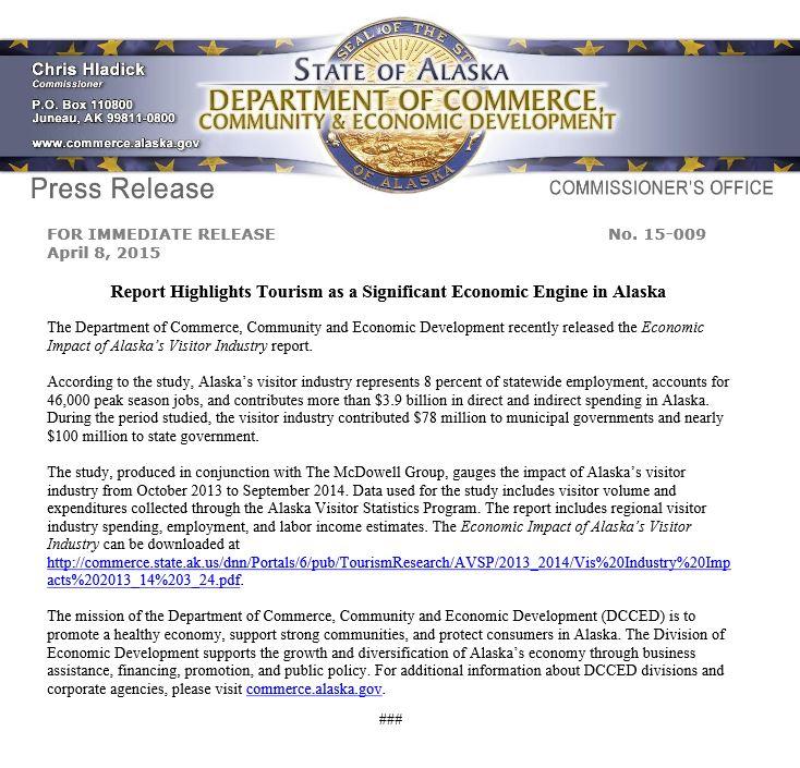 Stae of Alaska Press Release