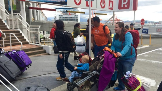 Thousands of passengers, mostly Americans, boarded the Ruby Princess at Canada Place in Vancouver Wednesday as Alaska cruise season officially began. (Tina Lovgreen/CBC)