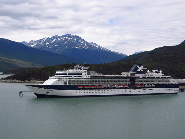 The Celebrity Infinity pictured docked in Skagway in 2011 is one of two mega cruise ships that will visit Haines. (Flickr/Jasperado)