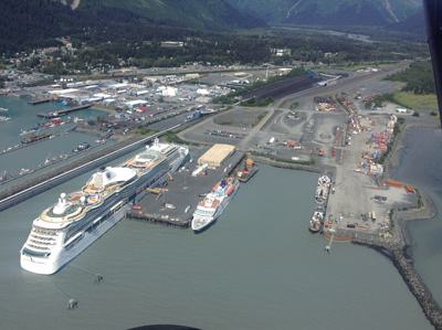 Two ships at dock in Seward. The community will welcome 67 cruise ships this year.