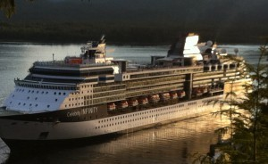 The cruise ship Infinity is seen leaving Ketchikan's Berth 4