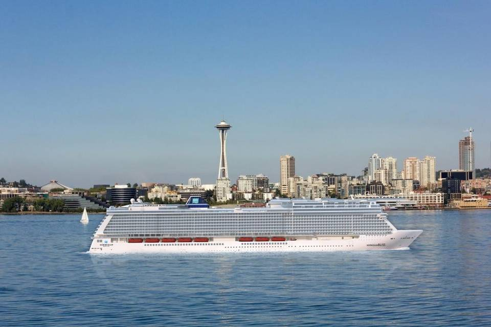 Rendering of the 4,000-passenger Norwegian Bliss, the first cruise ship custom-built to sail in Alaska. The ship will homeport in Seattle. Taya Johnston