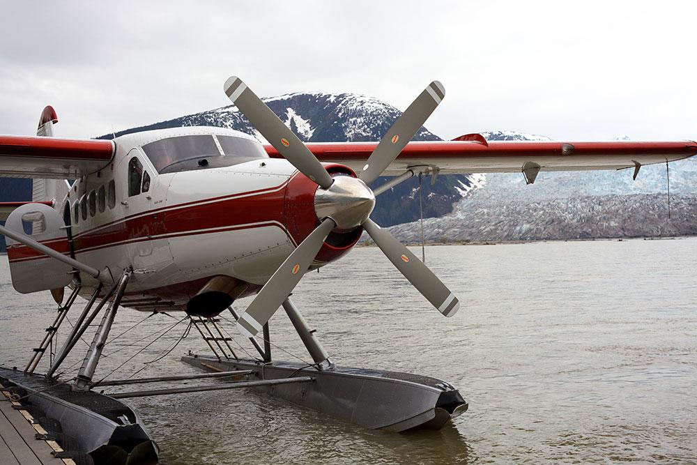 Floatplane. Juneau, Alaska near glacier.