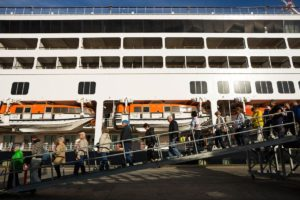 Cruise ship passengers disembark from the Holland America cruise ship MS Maasdam at the Port of Anchorage on May 30. (Loren Holmes / Alaska Dispatch News)