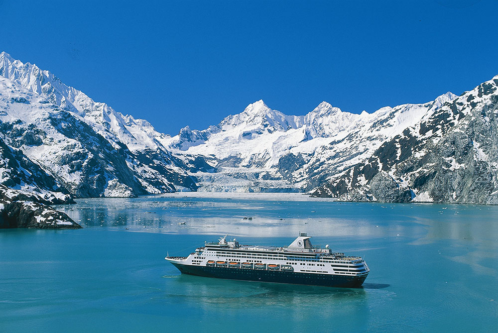 Holland America ship near glaciers