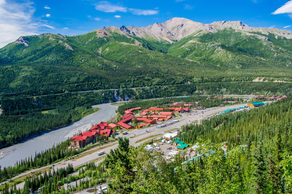 Aerial view of town near Denali National Park
