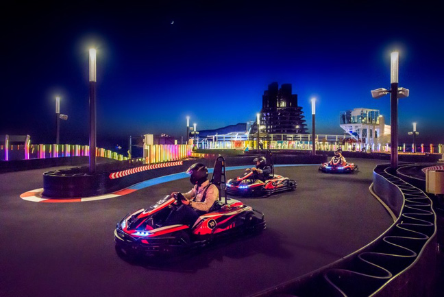 go karts at night