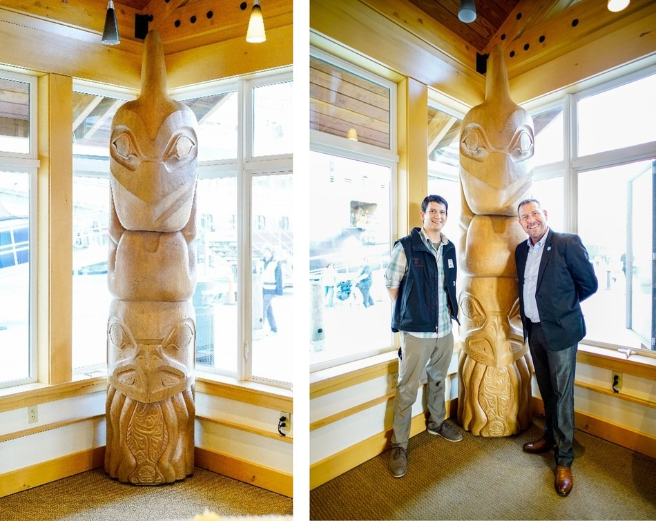 The Masters of the Sea totem pole carved by local carver Kelly