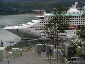 Cruise ship plugged into shore power