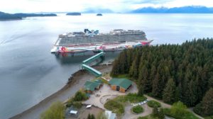 Norwegian Joy at berth at Icy Strait Point.